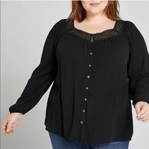 Lane Bryant Black Boho Top - Size 22/24